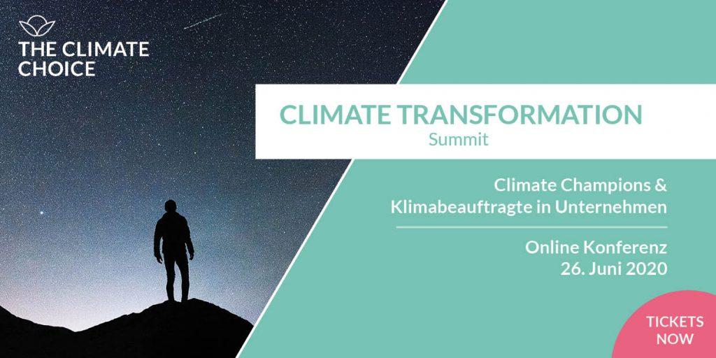 """Der CLIMATE TRANSFORMATION Summit lädt als Online-Konferenz EntscheiderInnen aus Unternehmen, Klimabeauftragte, Interessierte und GreenTech Entrepreneure ein, um neue Business Modelle, relevante Maßnahmen und kosteneffiziente Best-Practices für die Klimatransformation - gegen """"Climate Distancing"""" - zu diskutieren."""