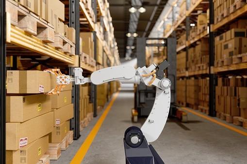Automatisierung durch Roboter in der Lieferkette.